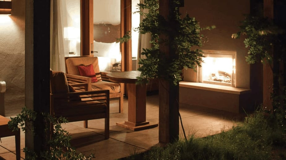 Patio with fireplace at luxury hotel in Santa Fe
