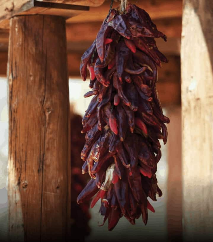 chili peppers hanging outside