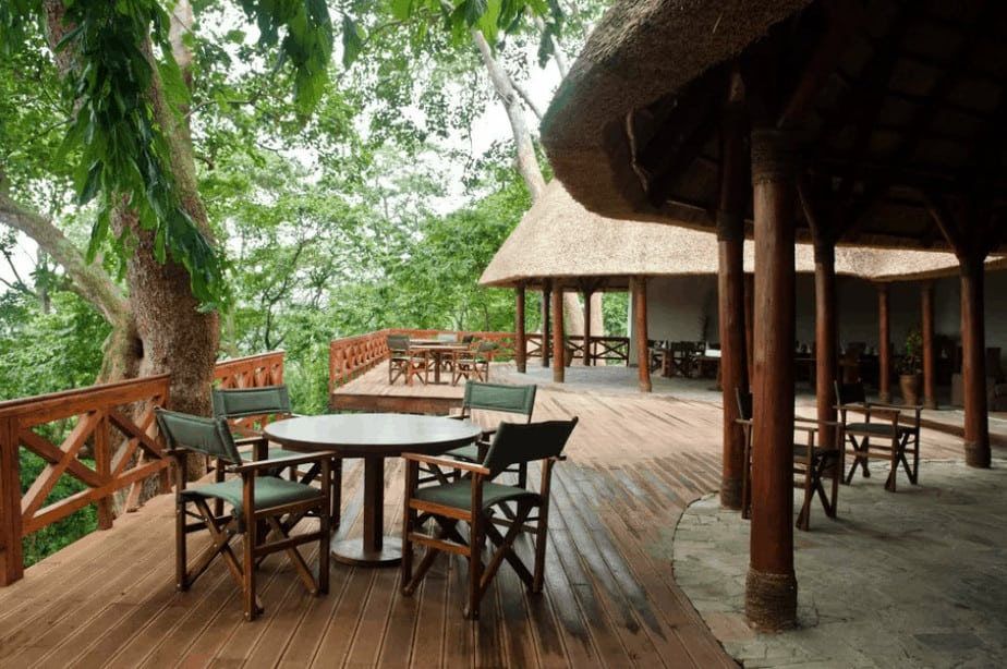 Mikeno Lodge patio for hanging out after gorilla trekking