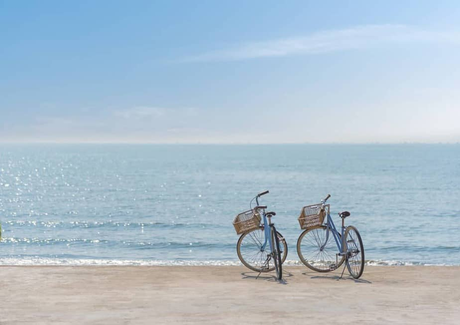 Beach lifestyle with Two bicycles on the seaside