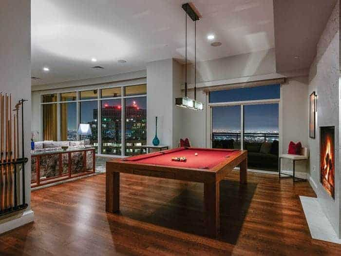 Pool room at The Century owned by Matthew Perry