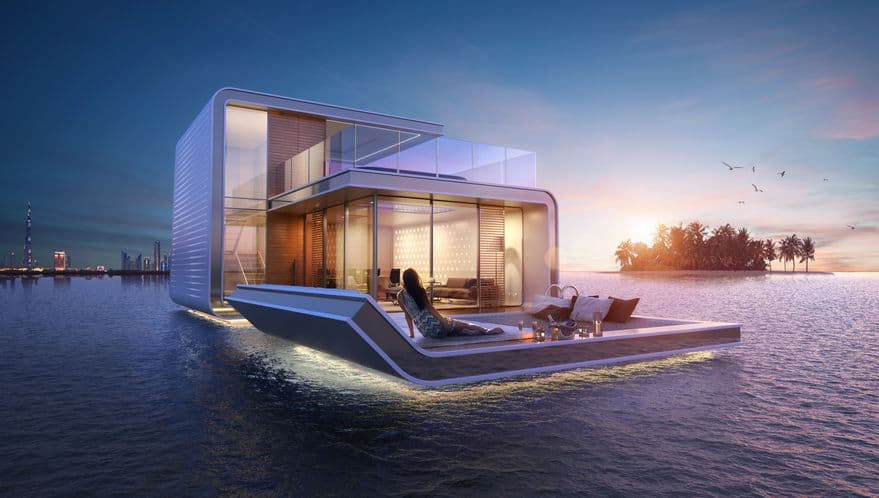 The floating seahorse houseboat at sunset