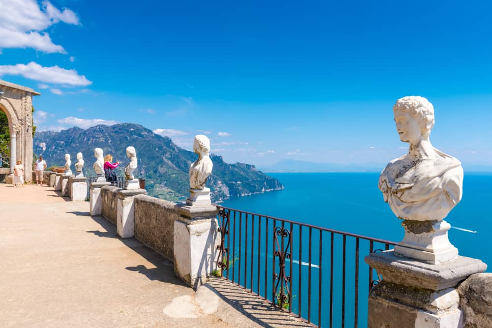 Tour stop at Belvedere of the Villa Cimbrone along the Amalfi Coast