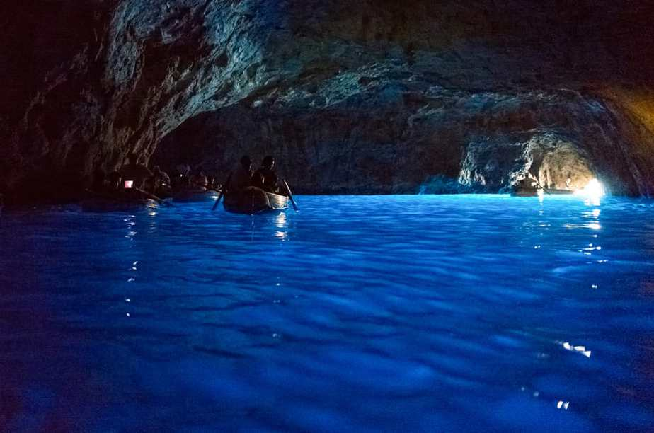 Boats with tourists in the Blue Grotto