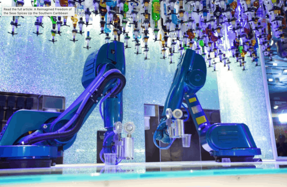 Robot bartenders on a cruise ship
