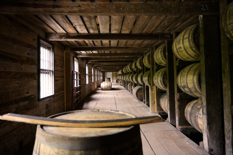 Distillery bourbon wooden barrel container room
