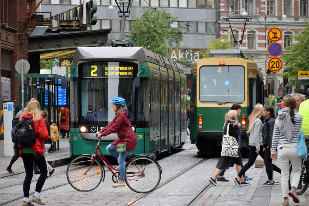Happy people enjoying the city in Finland