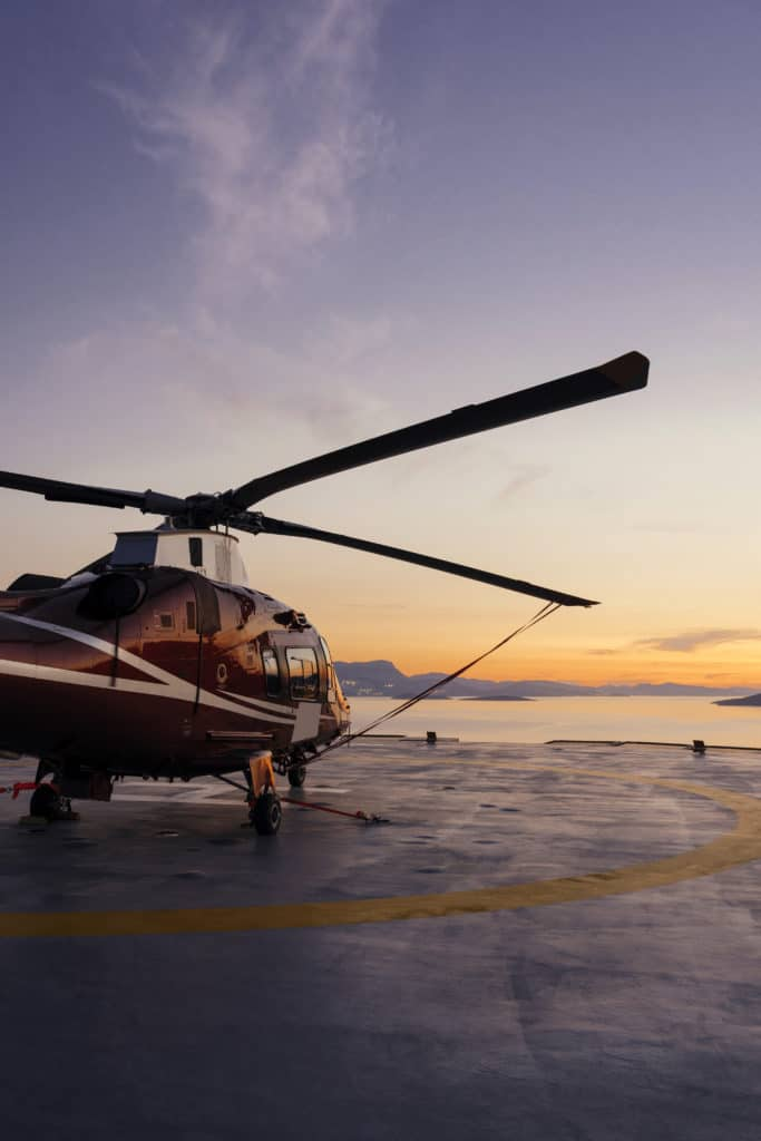 Helicopter parking at sunset.