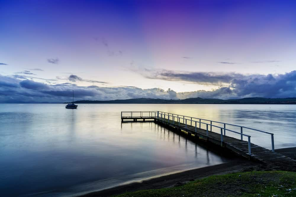 Lake Taupo in beautiful twilight in the evening