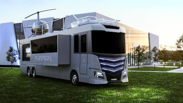Luxury motorhome with helipad