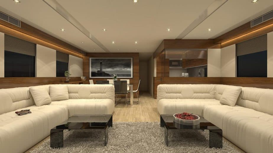 Living and dining area inside the Overblue luxury houseboat