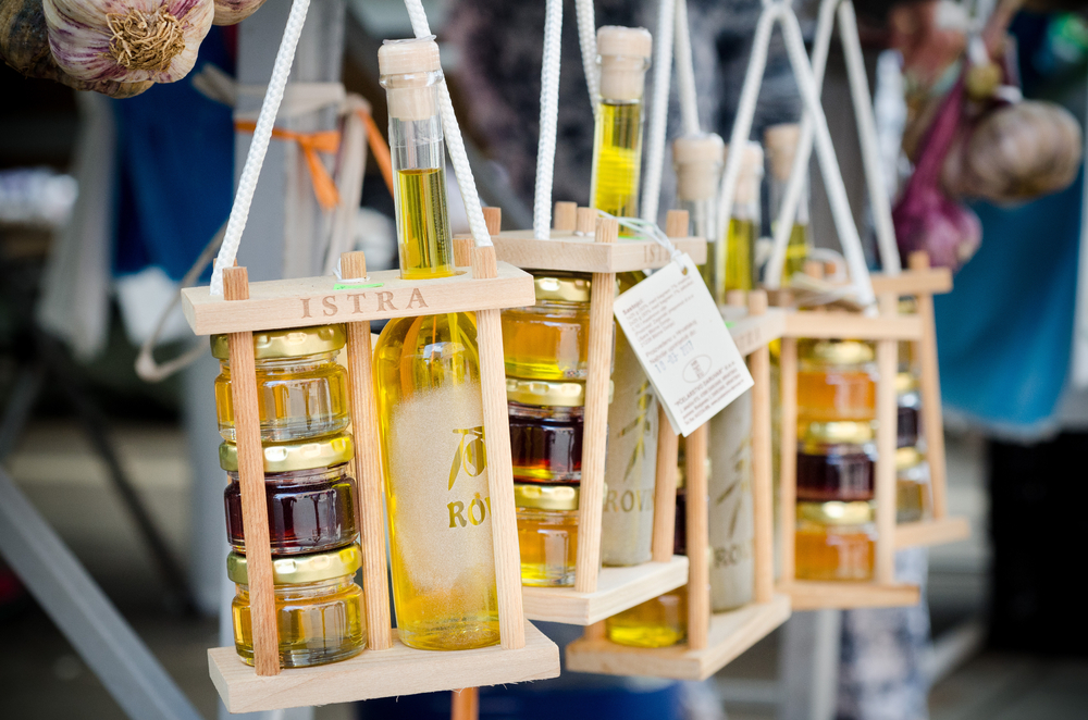 Olive oil and honey - typical and traditional local food products of Istria region in Croatia