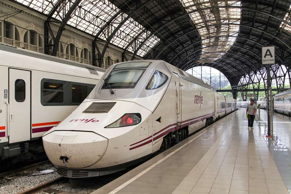 Renfe-train-at-the-french-station-in-Barcelona-Spain