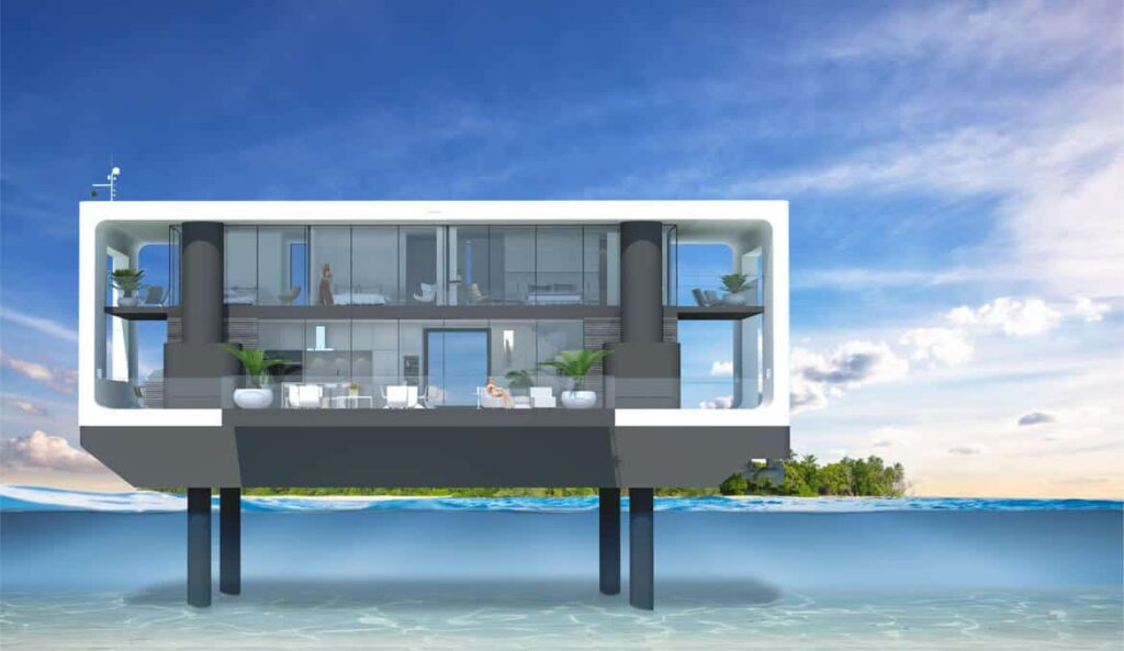 Arkup floating villa with spuds extended