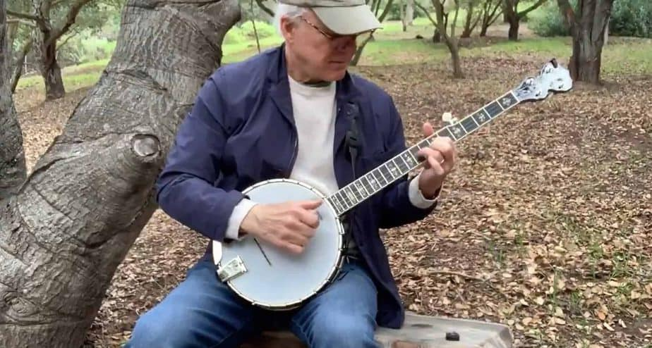 Steve Martin playing the banjo while being safer at home
