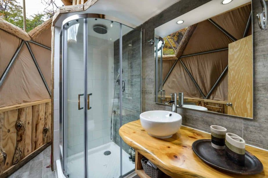 bathroom at Suite Dome at EcoCamp luxury camping