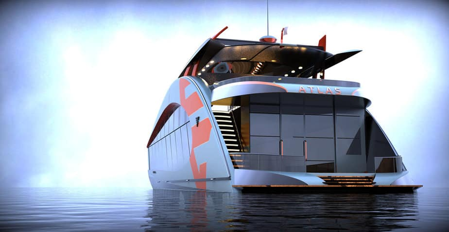 Atlas V Series luxury houseboat on the water