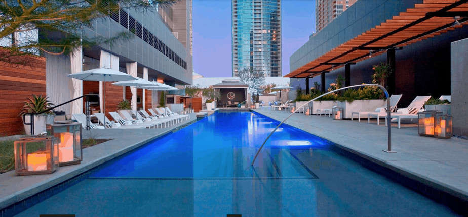 The pool at luxury W Hotel in Austin