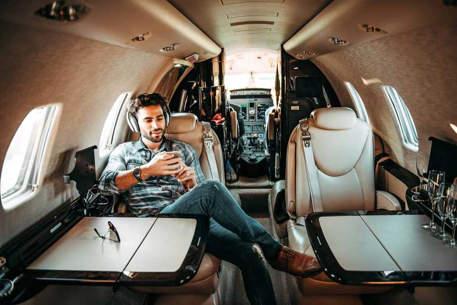 Young-rich-man in private plane