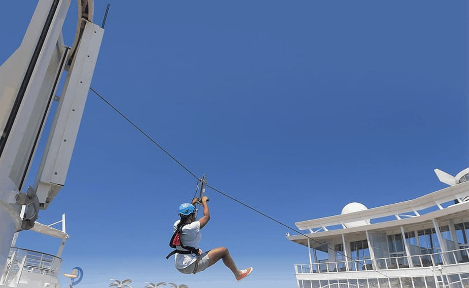 Zip line on a cruise ship