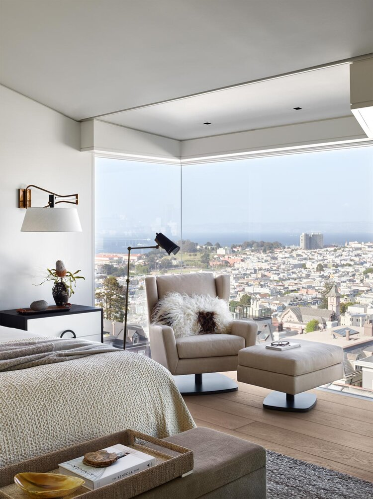 bedroom with chair by san francisco interior designer