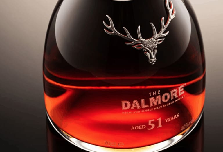 close up of Dalmore whiskey in a bottle