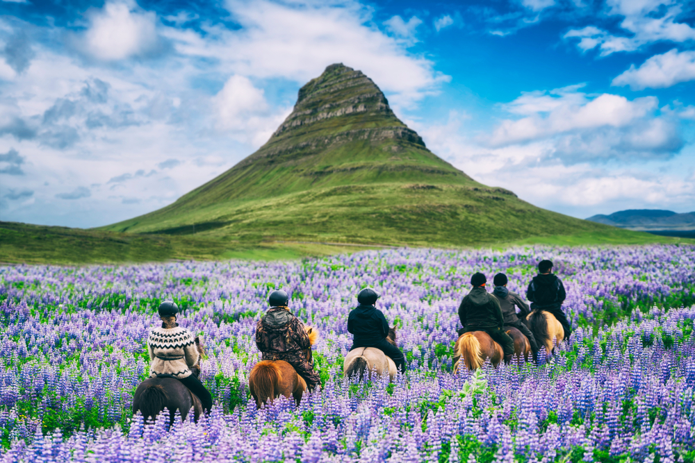 happy riders on horseback in Iceland a top country for happiness