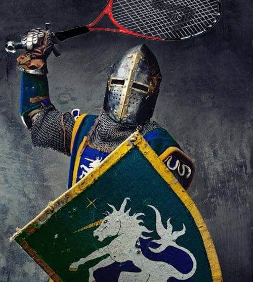 Armored tennis player with shield