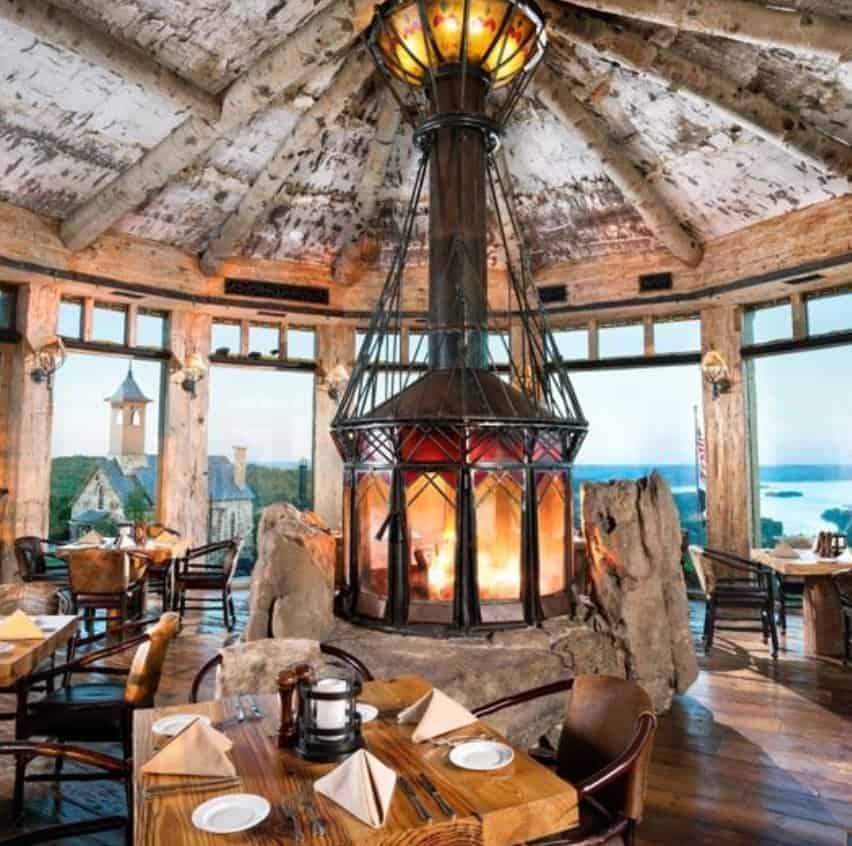 Osage restaurant interior with a view