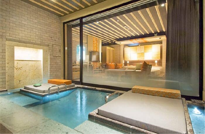 room at hotel in Japan with healing hot springs bath