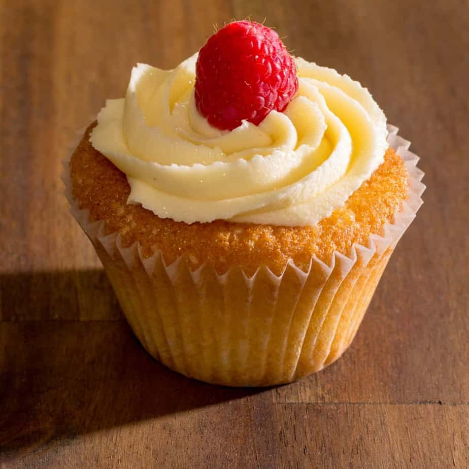 Cupcake with raspberry on top
