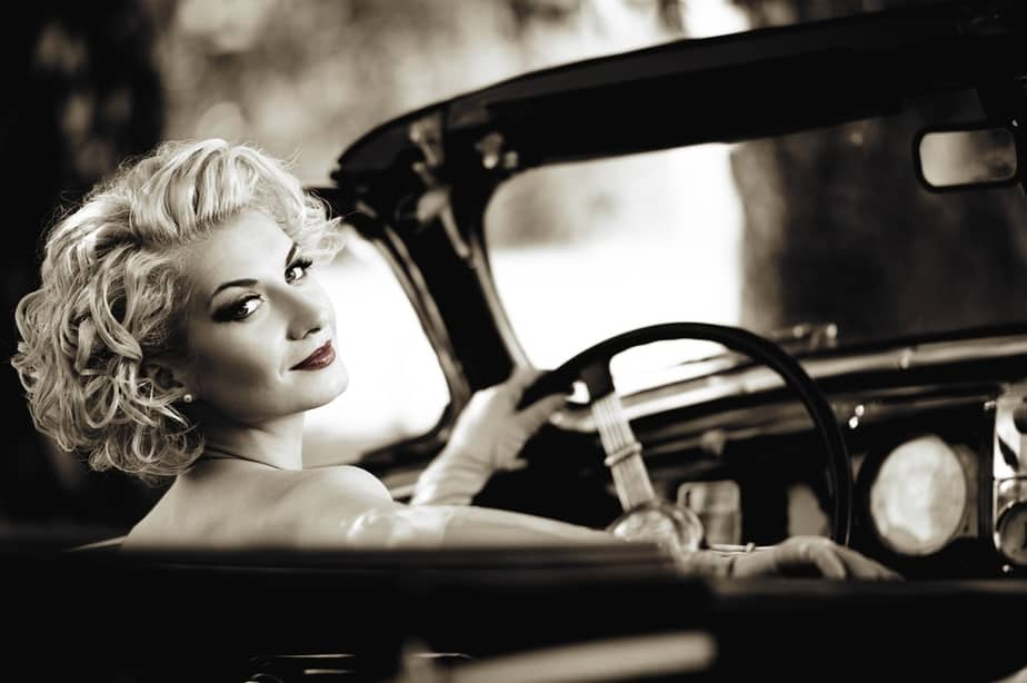 Vintage glamour of girl in car