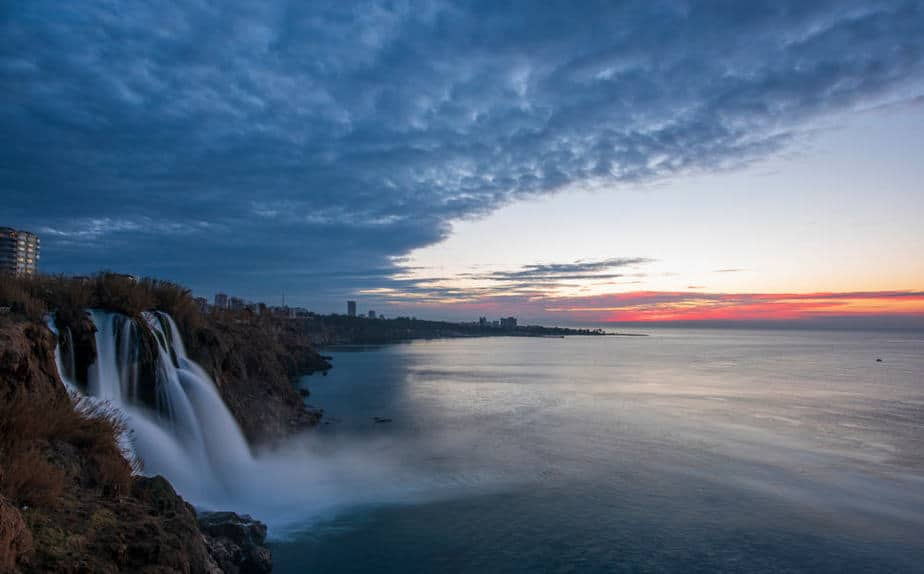 Düden Waterfall and the sea