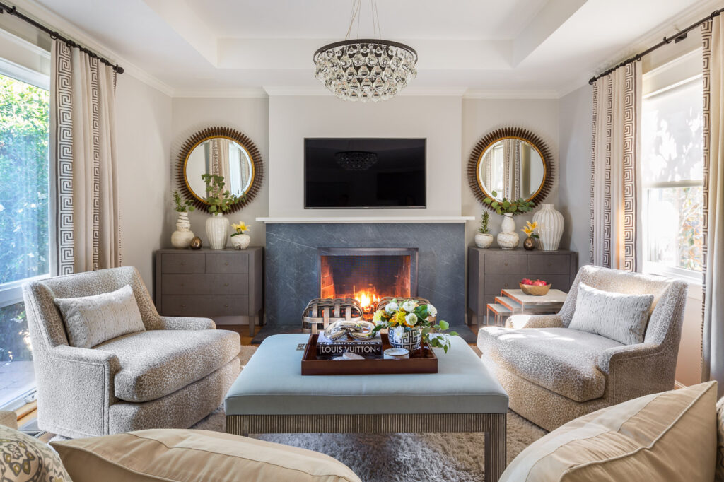 stylish living room with fire