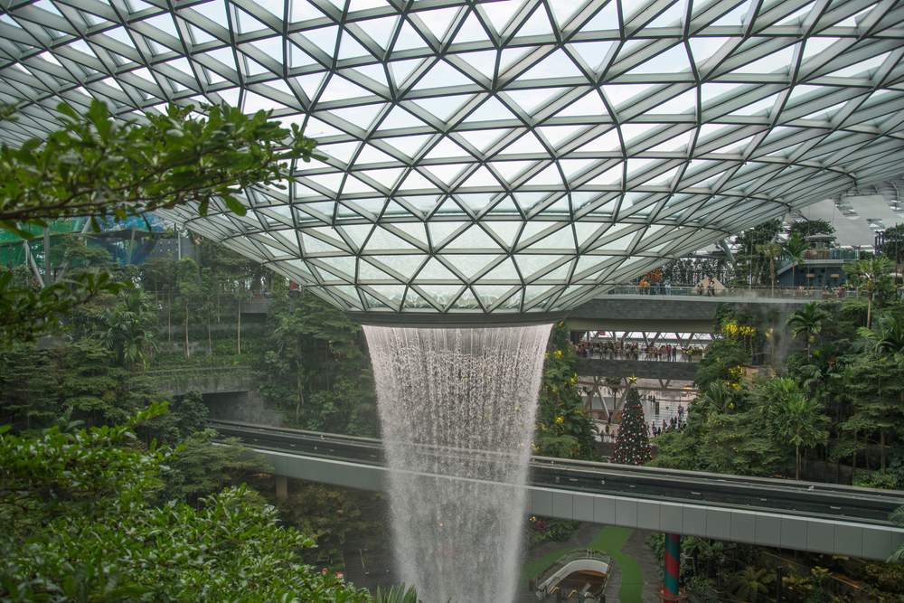 tallest indoor waterfall in the world at Jewel Changi Singapore