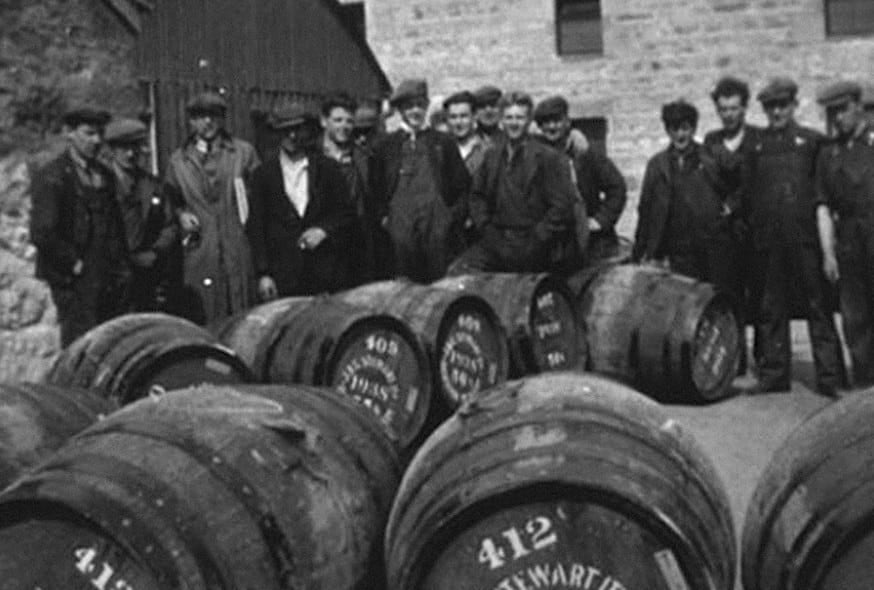vintage whiskey makers outside the distillery